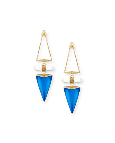 Alexis Bittar Faceted Rock Crystal Triangle Drop Earrings