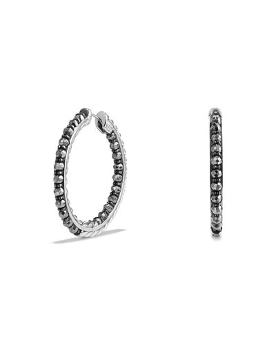 Osetra Faceted Hematine Hoop Earrings