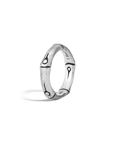 Bamboo Carved Sterling Silver Ring, Size 7