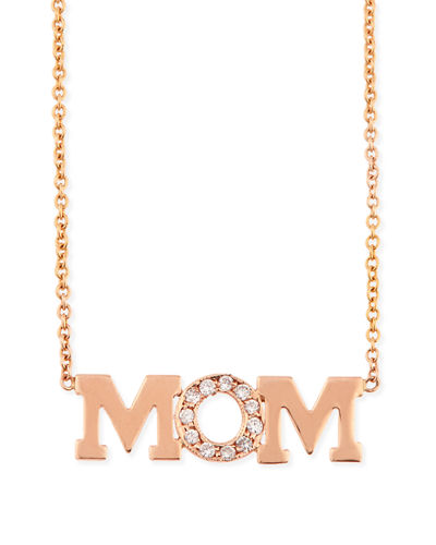 Zoe Chicco 14K MOM Diamond Pendant Necklace
