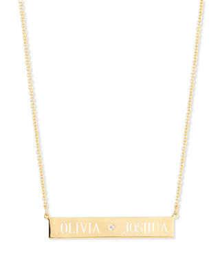 Sarah Chloe Leigh Engraved Bar Pendant Necklace with Diamond Te5tPbv1