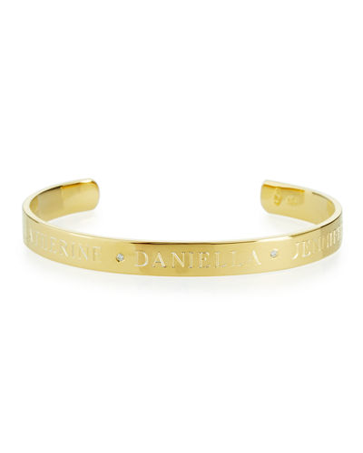 6mm Ciela Trio Name Cuff Bracelet with Diamonds