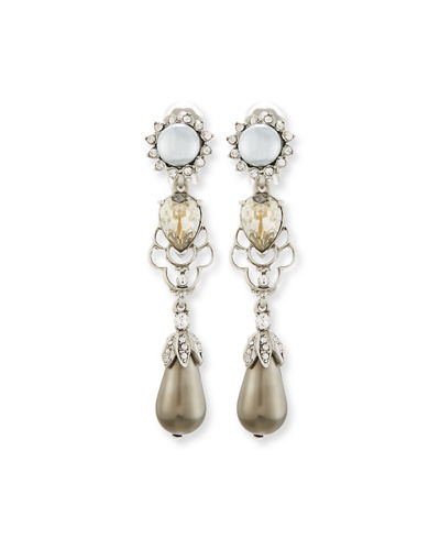Linear Pearly Drop Earrings