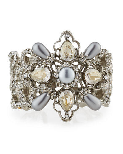 Filigree Cuff Bracelet with Crystals & Pearly Beads