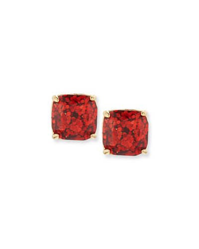 small glittered square stud earrings