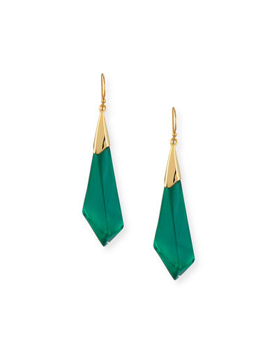 Faceted Lucite Wire Drop Earrings