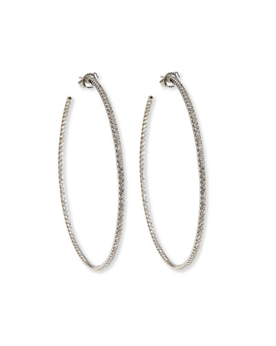 55mm White Gold Micro Diamond Hoop Earrings, 2ct