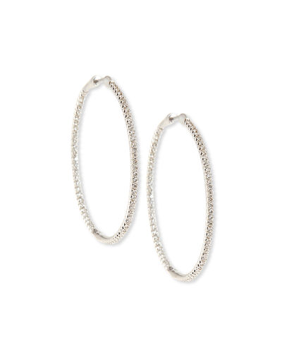 18k Gold Micro Diamond Pave Hoop Earrings, 1.5""
