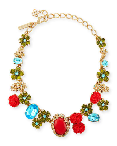 Bouquet Crystal & Resin Floral Statement Necklace