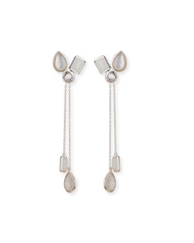 Mixed-Shape Cluster Lariat Earrings