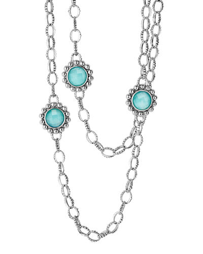 "Maya Silver Station Necklace, 36""L"