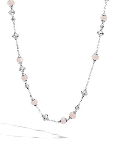 Bamboo Pink & White Moonstone Sautoir Necklace, 36
