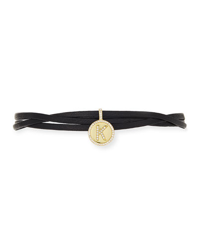 Armure Leather Monogram Choker Necklace