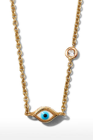 Sydney Evan 14k Gold Evil Eye Necklace with Single Diamond