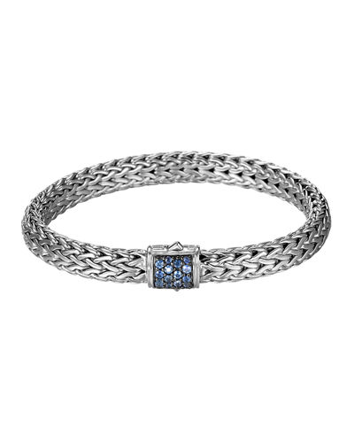 Classic Chain 7.5mm Medium Braided Silver Bracelet, Blue Sapphire