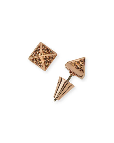 Pavé Crystal Pyramid Stud Earrings
