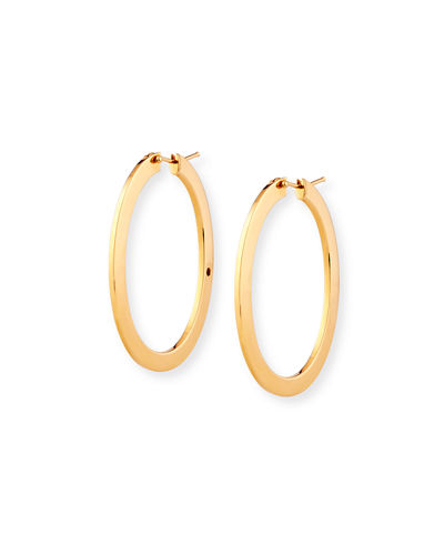 Flat Ellipse Hoop Earrings in 18K Gold