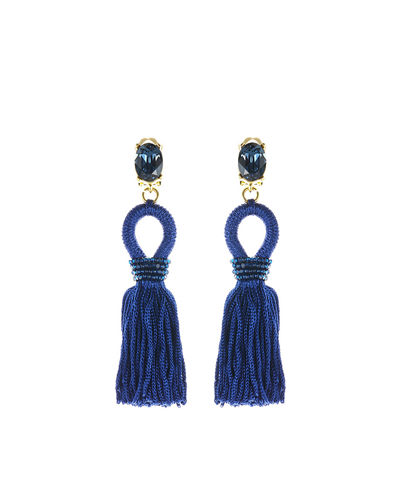Short Silk Tassel Clip-On Earrings