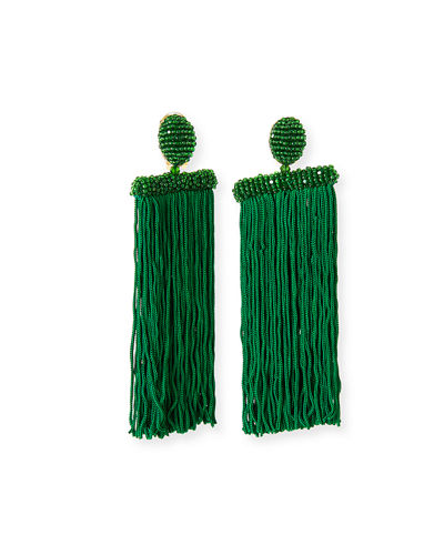 Silk Waterfall Tassel Clip-On Earrings