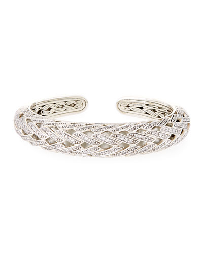 Classic Chain Silver Diamond Small Graduated Kick Cuff Bracelet