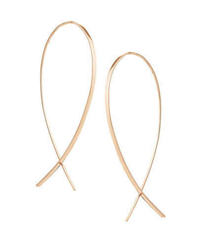 Medium Wide Upside Down Hoop Earrings