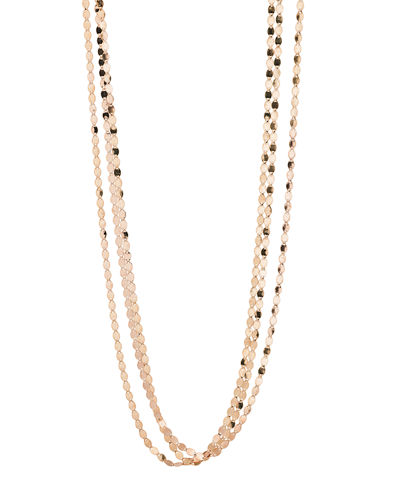 Short Nude Three-Strand Necklace, 16""