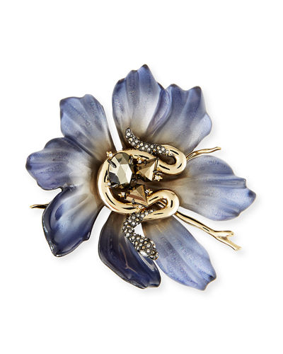 Lucite Flower & Crystal Snake Pin