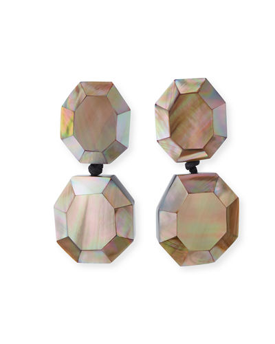 Faceted Double-Drop Mother-of-Pearl Earrings