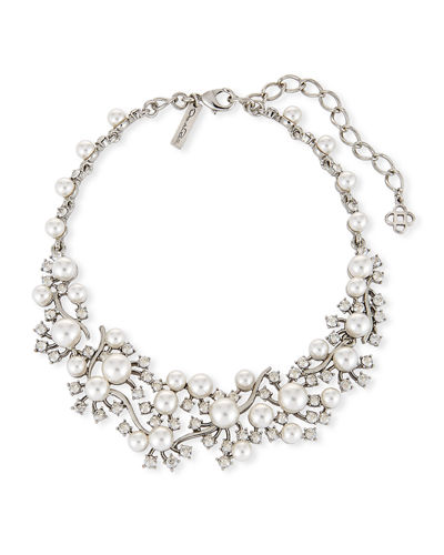 Scattered Pearly Bead & Crystal Collar Necklace