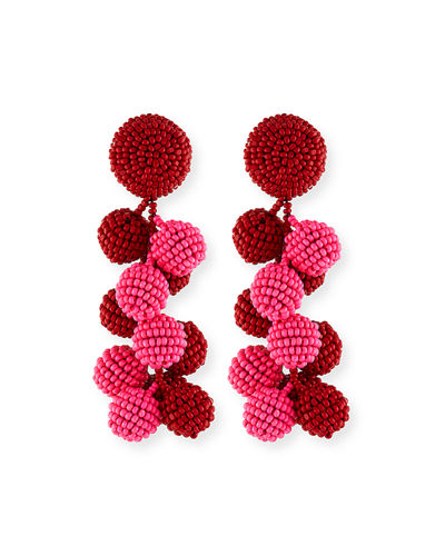 Two-Tone Coconut Beaded Clip Eearings