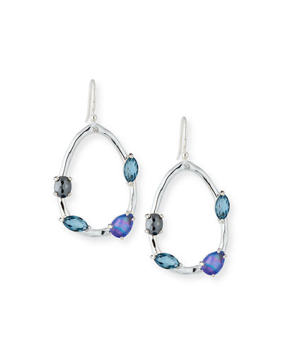 Rock Candy Small Pear Drop Earrings in Dark Blue