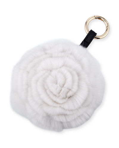 Spiral Rabbit Fur Rosette Pompom Bag Charm