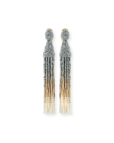 Long Ombre Beaded Tassel Earrings