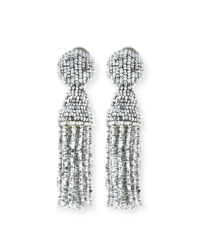Beaded Tassel Clip-On Earrings
