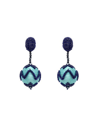 Beaded Chevron Ball Drop Clip-On Earrings
