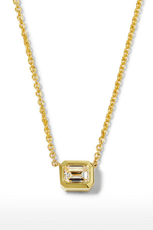Roberto Coin 18k Emerald-Cut Diamond Pendant Necklace