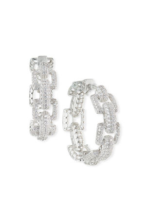 Fallon Square-Link Pave Hoop Earrings