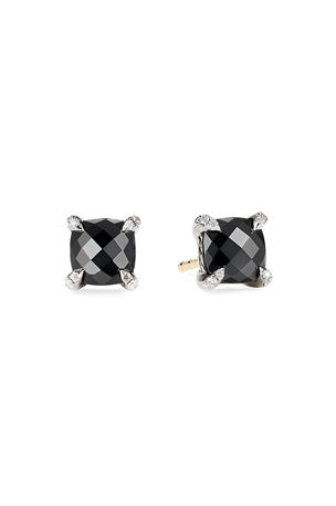 David Yurman Chatelaine Cushion Stud Earrings with Diamonds