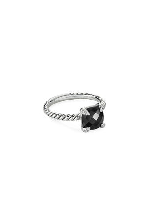 David Yurman Chatelaine Cushion Ring with Diamonds, Size 5-7