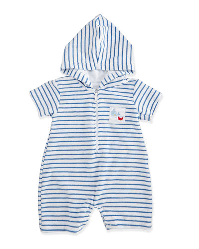 Whale Tails Pima Striped Terry Shortall, Size 0-18 Months