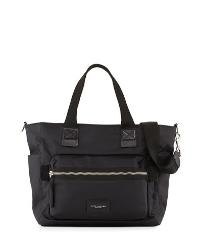 Biker Leather-Trim Nylon Babybag