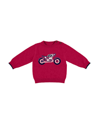 Long-Sleeve Tipped Intarsia Pullover Sweater, Size 3-24 Months