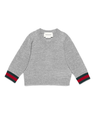 Wool V-Neck Pullover Sweater, Size 6-36 Months