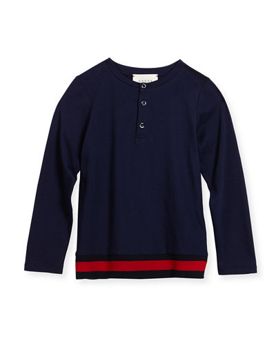 Long-Sleeve Web-Trim Henley Tee, Size 4-12