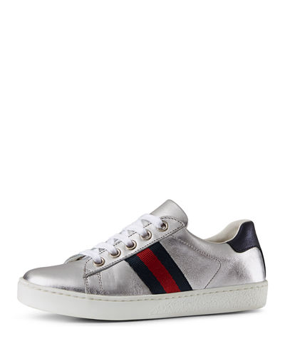 Gucci New Ace Leather Tennis Shoe, Youth