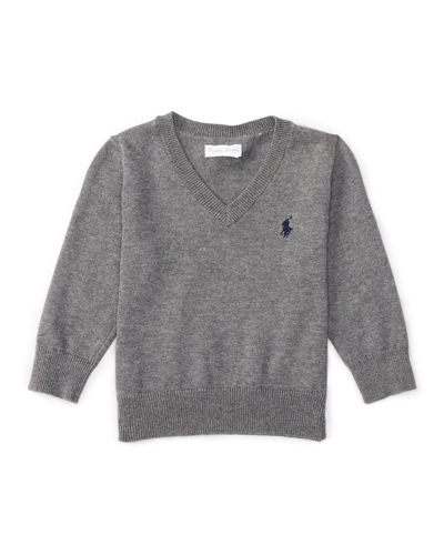 V-Neck Elbow-Patch Sweater, 9-24 Months