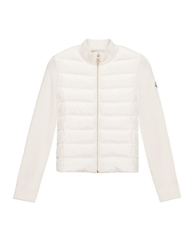 Puffer-Front Tricot Jacket, Size 4-6