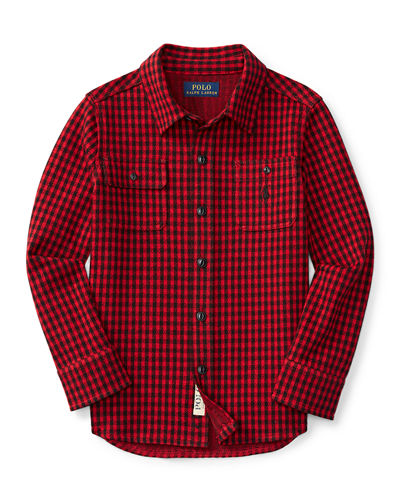 Cotton Jacquard Houndstooth Shirt, Size 2-7