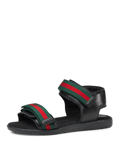 Gucci Leather Grip-Strap Sandal, Junior