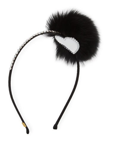 Rhinestone & Fox Fur Pompom Headband